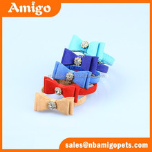 hot sale china pet supplier leather cyrstal dog bow tie collar,cheap dog collar,leather dog collar
