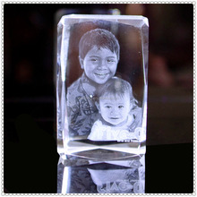 Brother Photograph Laser Crystal Block For Family Meeting Souvenir