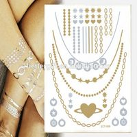 Metallic Designs Tattoo Sticker Neck Chain New Fashion Temporary Tattoo Necklace Reflective Promotion Feature Foil