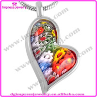 IJD8548 Wholesale heart shape millefiori murano glass jewelry stainless steel pendant cremation urns for ashes