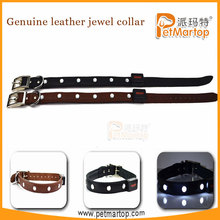 wholesale custom dog collar leather TZ-PET8100 led leather jewel collar