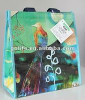 2014 high quality PP woven insulated lunch cooler bag with Velcro closure