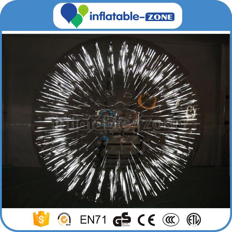 Shinning bola zorb inflável zorb bola de luz, luz comercial branco engraçado transparente bola zorb inflável para a venda