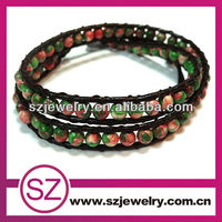 NTB0134 Young people style colourful two warps beaded leather bracelet,magnetic bracelet benefit