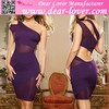 Extreme Purple One Shoulder Mesh Bodycon Sexy Party Dress China Imported