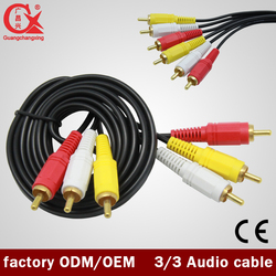 20m Wholesale price 3 RCA to 3 RCA male audio video cable
