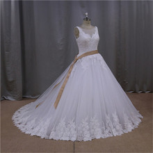 long tail open back white hand sew beading wedding dress