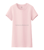 Plain Blank Pink Crewneck T shirts Your Design Logo 100% Cotton Short Sleeve T shirts