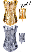 Wholesale colorful clothing slim sexy gold corsets and bustiers