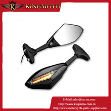 Motorcycle Rearview Mirrors with LED Turn Signals Lights For Suzuki