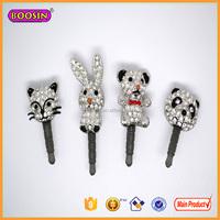 Hot sale fashion CZ stone cute animal phone dust plug charms