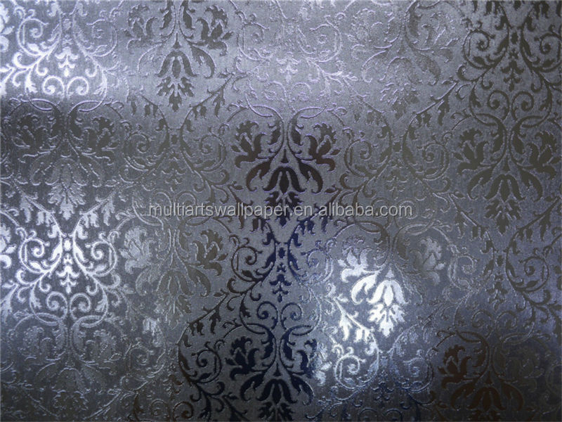 Wholesale leaf wall paper design home decor 3d wallpapers for Silver 3d wallpaper