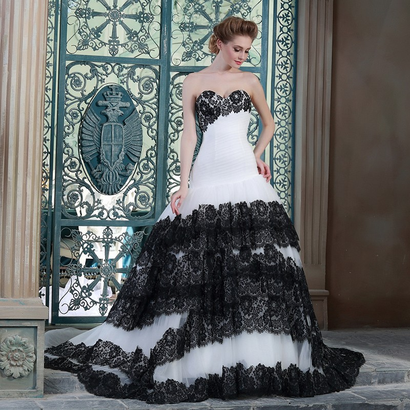 Cheap black and white wedding dresses china 2015 custom for Cheap black and white wedding dresses