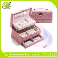 Popular Metal hinged Leather Wooden Jewelry Box with drawer
