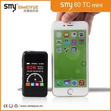Top quality e smart electronic cigarette 60 watt mini box mod Smy60 TC vaporizer pen ego c twist with ce4 vaporizer