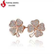 Beautiful earring designs for women four leaf clover