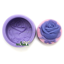 Nicole silicone molds for soap with rose on round shape easy demold