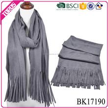 TOROS Professional OEM/ODM fashion women polyester fringe muffler suede leather scarves