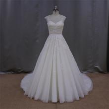 Fancy sleeveless cascading ruffles wedding gown dress 2012