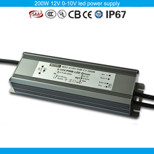 PF>0.98 EFF88% constant voltage led driver ip67 12v 200w 0-10v dimming led power supply