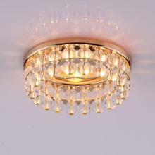 MR16 G5.3 round recessed golden iron metal clear crystal beads down light with 2 layer ball beads