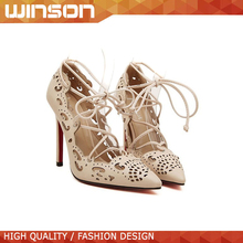 Summer Spring Leather Ladies Fashion Red Bottom High Heel Pointed Toe Hollow Out Shoes For Women