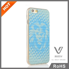 lion pattern blue color tpu armor mobile phone case for IPhone 6