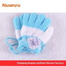 Cotton yarn Nylon Blending open finger fur knitting yarn white gloves black light