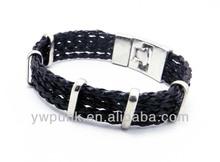 Black weaved side-by-side bracelet cuff design leather cord bracelet clasps models for men