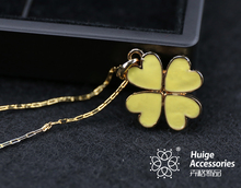 2015 new Fashion jewelrey lucky cheap custom simple chain necklace girl loves gold plated four leaf clover