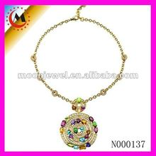 NEW ARRIVAL 18K GOLD NECKLACE CHAIN WITH COLORED STONES