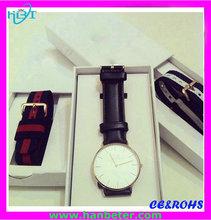 U.S. Most popular Brand new thin case watches for men/super thin genuine leather strap s.s. steel Minimalist watch