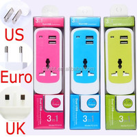 Smart 3 in 1 usb charger socket,dual usb charger, EU/US/UK universal usb charger