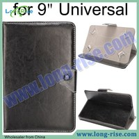 Hot Sale Crystal Grain Universal Leather Case for 9 Inch Tablet PC with Adjustable Elastic Belt Corners