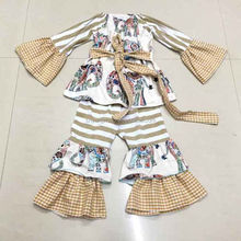 Wholesale name brand baby clothes long sleeved ruffle pants girls fall outfits