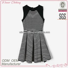 2015 Hot Selling Clothing Manufacturer Black& White Stripe With Black Color Girls Traditional Dress