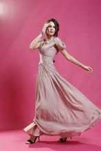 2015 sexy chiffon long evening dress with pleat cap sleeve