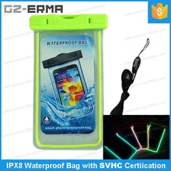 New Arrival 5.5 inch Custom Luminous Waterproof Smartphone Bag for Beach, Swimming, Water Sports