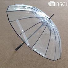 China promotion 16 ribs transport clear unique rain umbrellas
