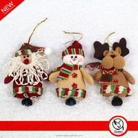 plush santa snowman reindeer Christmas ornament with jingle bell