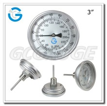High Quality all stainless steel 80mm back connection bimetal thermometer for serving industrial