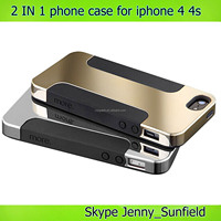 phone case 2 in 1 Silicon electroplate metal case for iphone 4 4s, for iphone 4 case metal ,for iphone case 4s 5s 6