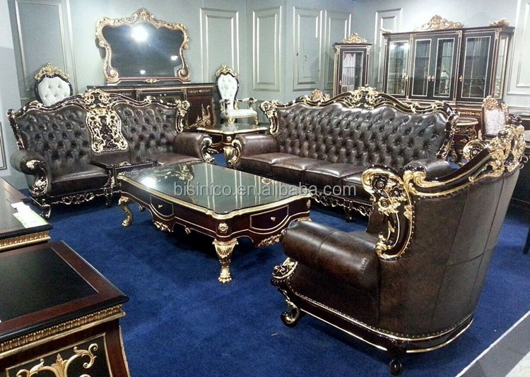 bisini high end and classy leather sofa set royal living room genuine leather furniture set bf01. Black Bedroom Furniture Sets. Home Design Ideas