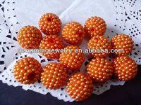 Orange Chunky 20mm AAA Quality Handmade Resin pearl Rhinestone Ballbeads for Chunky Bead Necklace Wholesales