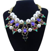 Hot Selling Fake Gold Crystal Punk Jewelry , Wholesale Pearl Statement Necklace In China