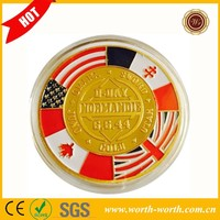 China Products 40*3mm Normandie War 70-year Anniversary Commemorative Coin, France Metal Souvenir Coin 24K Gold Plated