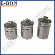 stainless steel storage canisters with glass lid