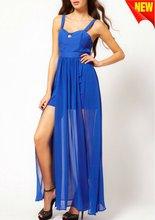 girl dresses summer with elongated chiffon drape D-1392