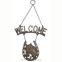 CAST IRON HORSE HEAD HANGING WELCOME PLAQUE