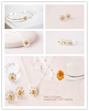 New arrival gold tiny delicated 925 sterling silver daisy fashion jewelry set for wedding party